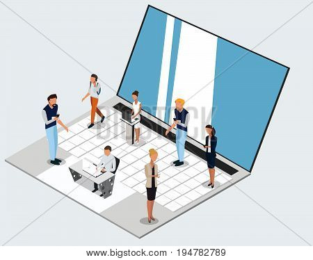 Vector concept of wireless technology devices. Flat  isometric poster with notebook and isometric people. -stock vector