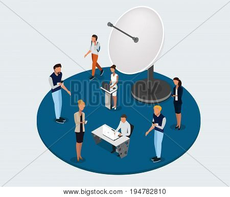 Vector concept of wireless technology devices. Flat  isometric poster with smartphone and isometric people. -stock vector