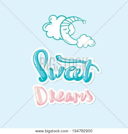 Vector illustration of wish good night on sky background with moon. Art design for web, site, advertising, banner, poster, flyer, brochure, board, card, paper print