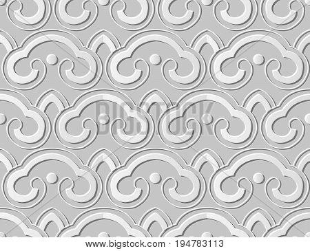 3D Paper Art Curve Cross Round Geometry Chain