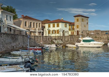 NAFPAKTOS, GREECE - MAY 28, 2015: Sunset panorama of Fortification at the port of Nafpaktos town, Western Greece