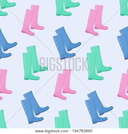 Wellington rain boots vector seamless pattern Flat design of rainy weather clothing with light blue background vector illustration