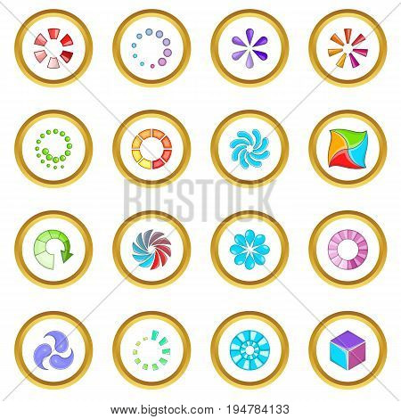 Download status icons circle gold in cartoon style isolate on white background vector illustration