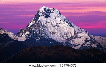 Annapurna South Peak - View From Poon Hill On Annapurna Circuit Trek, Nepal