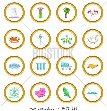 Singapore travel icons circle gold in cartoon style isolate on white background vector illustration