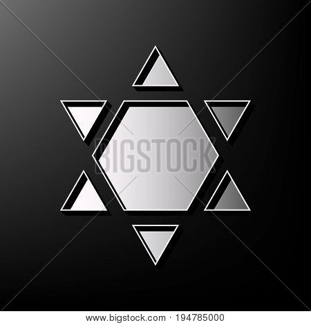 Shield Magen David Star Inverse. Symbol of Israel inverted. Vector. Gray 3d printed icon on black background.