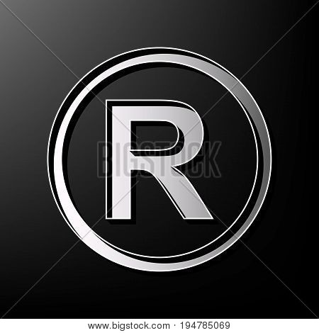 Registered Trademark sign. Vector. Gray 3d printed icon on black background.