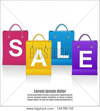 Sale Wording On Shoping Bags On White Background Business Concept
