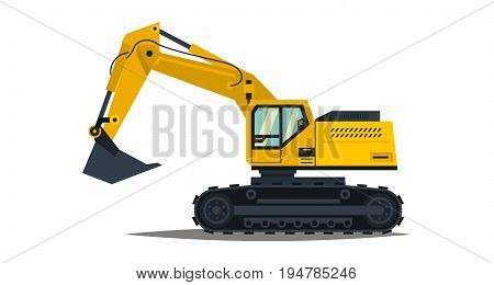Yellow excavator. Isolated on white background. Special equipment. Construction machinery. Vector illustration