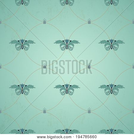 Seamless vector background. Vintage floral pattern with decorative rack.