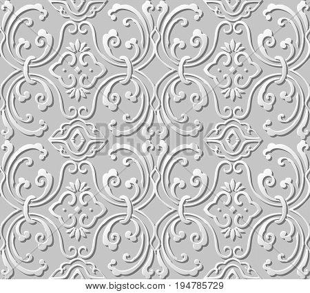 3D Paper Art Pattern Round Spiral Wave Vine Chain