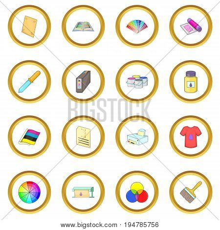 Print process icons circle gold in cartoon style isolate on white background vector illustration