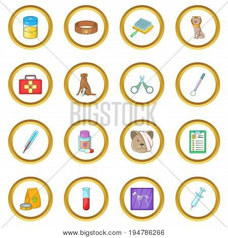 Veterinary clinic icons circle gold in cartoon style isolate on white background vector illustration