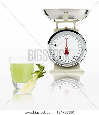 food scale with fennel juice glass isolated on white background Balanced diet concept
