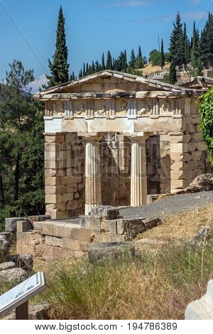 Treasury of Athens in Ancient Greek archaeological site of Delphi, Central Greece