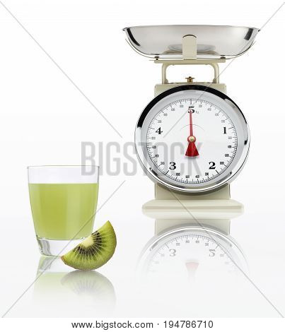 food scale with kiwi juice glass isolated on white background Balanced diet concept