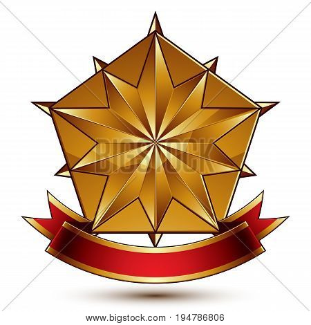 Vector complicated glossy design element luxury 3d polygonal golden star placed on a decorative blazon conceptual graphic coat of arms with wavy red ribbon clear EPS 8.