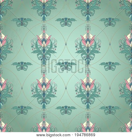 Vector seamless background. Floral vintage pattern with decorative rack. Beautiful fantasy flowers with leaves and berries.