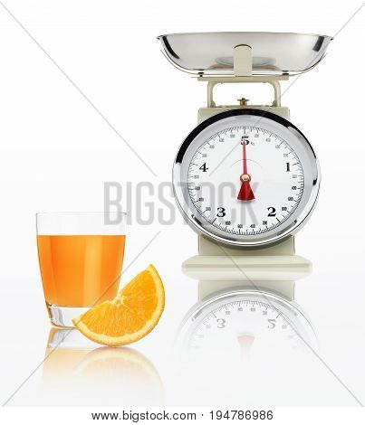 food scale with orange juice glass isolated on white background Balanced diet concept