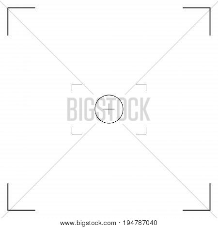 White and black viewfinder camera. Modern camera focusing screen. Vector illustration