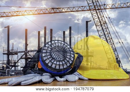 Safety in construction Concept , safety standard set Work outdoor wear safety equipment  at  construction site .