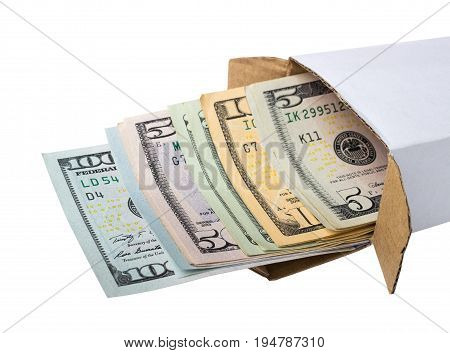 Box With American Dollars Isolated. U.s. Money In Box