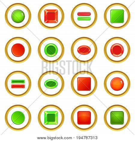 Blank web buttons icons circle gold in cartoon style isolate on white background vector illustration