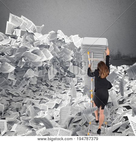 Businesswoman with paper sheet anywhere in office. Buried by bureaucracy concept.