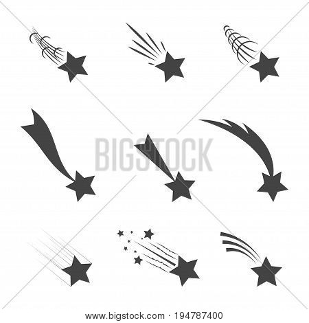 Meteorites and comets collection. Falling stars with different tails set - vector