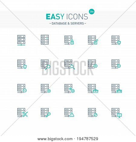 Vector thin line flat design icons set for database and server themes
