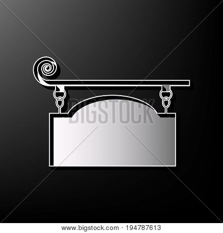 Wrought iron sign for old-fashioned design. Vector. Gray 3d printed icon on black background.