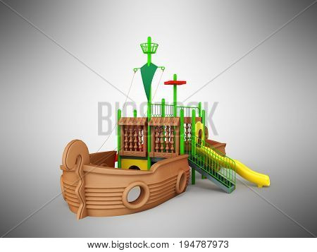 Playground For Children Ship Brown Yellow Green 3D Render On Gray Background