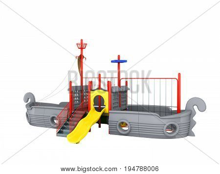 Playground For Children Ship Gray 3D Render On A White Background No Shadow