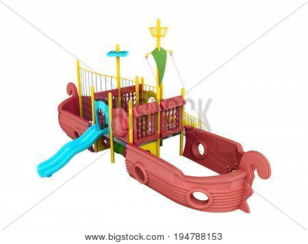 Playground For Children Ship Red 3D Render On A White Background No Shadow