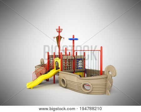 Playground For Children Ship Red Yellow Blue 3D Rendering On Gray Background