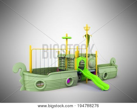 Playground For Children Ship Yellow Lime Violet 3D Render On Gray Background