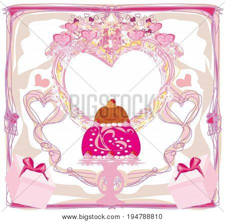 Happy Birthday with cake abstract Card , vector illustration