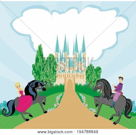 Princess and prince riding on a horse , vector illustration