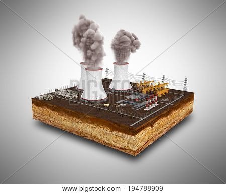 The Concept Of Ecologically Problems The Thermal Power Stations 3D Render On Grey