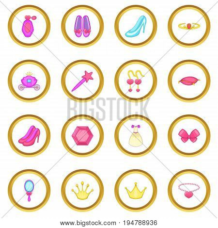 Princess doll icons circle gold in cartoon style isolate on white background vector illustration