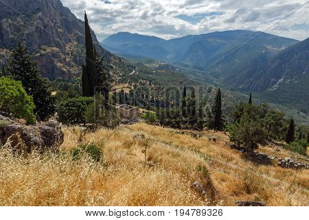 Amazing Panorama of Amphitheatre in Ancient Greek archaeological site of Delphi, Central Greece