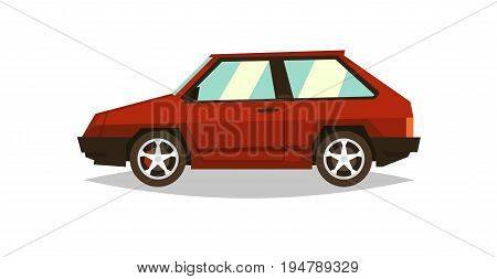 Red car hatchback. Side view. Gas engine. Alloy wheels. Flat style