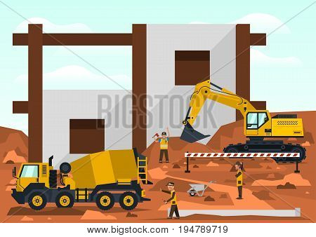 Construction site. Employees performing the construction of the building. Special equipment. Excavator, concrete mixer. Template for text. Labels, icons, logos. Vector illustration