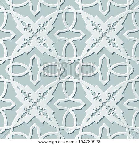 Vector Damask Seamless 3D Paper Art Cross Chain Kaleidoscope