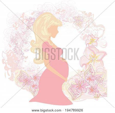 Beautiful pregnant girl silhouette card , vector illustration