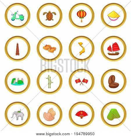 Vietnam travel icons circle gold in cartoon style isolate on white background vector illustration