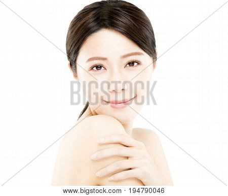 closeup happy young asian Woman beauty face