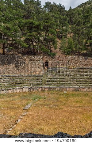 Panoramic view of Stadium at Ancient Greek archaeological site of Delphi, Central Greece