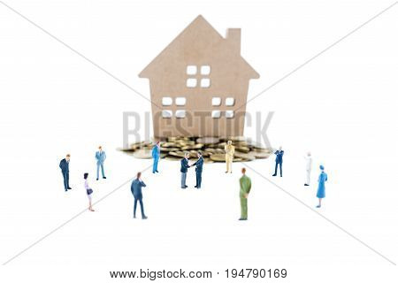 Miniature People Shaking Hands Deal With Partner, Business Concept.