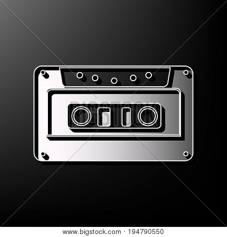 Cassette icon, audio tape sign. Vector. Gray 3d printed icon on black background.